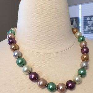 Handmade Boutique Pearl Necklace Stunning Jade Tan